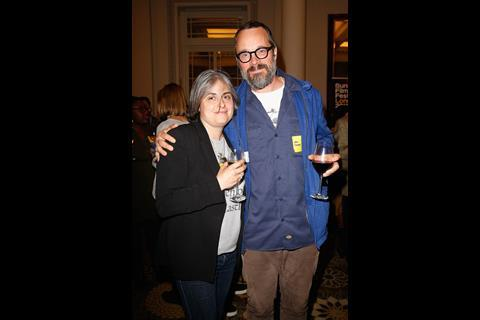 Celine Haddad of Creative England and Director Jorn Threlfall attend The Big Sundance London Party at the Langham Hotel on June 2, 2016 in London, England